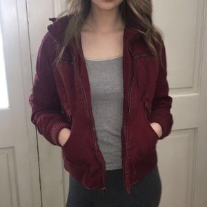dark red jacket